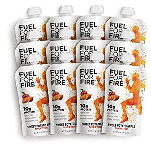 (Fuel For Fire - Sweet Potato Apple (12 Pack) Fruit & Protein Smoothie Squeeze Pouch | Perfect for Workouts, Kids, Snacking - Gluten-Free, Soy-Free, Kosher, No Added Sugar (4.5 ounce pouches))