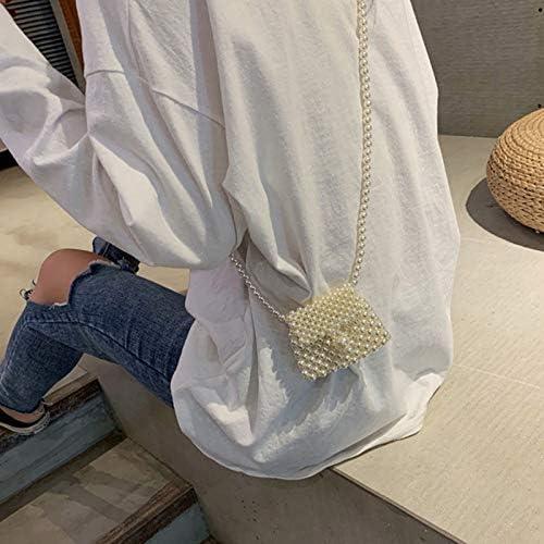 Gimax Coin Purses Color: BG3028WT-2 Fashion Hand-Woven Pearl Beaded Bag Phone Mobile Flap New Retro Mini Bag Purses Women Coin Purse