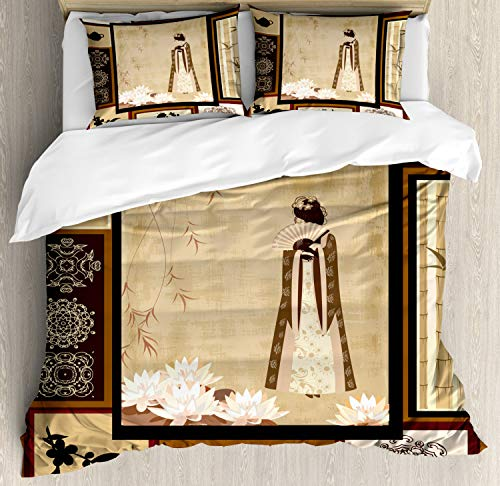 Ambesonne Japanese Duvet Cover Set, Girl in Traditional Dress and Cultural Patterns Ornaments Antique Eastern Collage, Decorative 3 Piece Bedding Set with 2 Pillow Shams, Queen Size, Brown Cream -