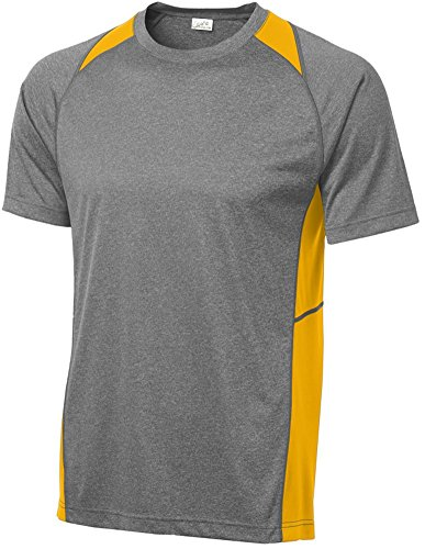(Joe's USA Men's Athletic Heather All Sport Training T-Shirt-Heather/Gold-XL)