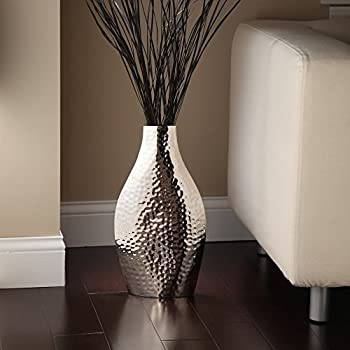 """Hosley 17"""" High Silver Color Metal Vase. Ideal Gift for Wedding, Home, Spa or Aromatherapy Settings O3"""