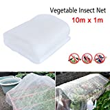 Yueunishi Mosquito Netting, Vegetable Insect Netting, Anti Bird Insect Net, Crop Vegetable Protection, Fine Mesh, Garden Vegetable Greenhouse Pest Control (10m x 1m)