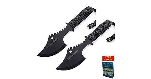 Amazon.com: Dos Cuchillo de supervivencia hacha táctica de ...