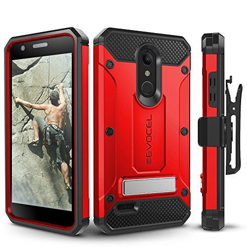 (LG K30 / LG Premier Pro/LG Harmony 2 Case, Evocel Heavy Duty Protection with Glass Screen Protector, Rugged Holster, and Kickstand, Explorer Series Pro - Red)