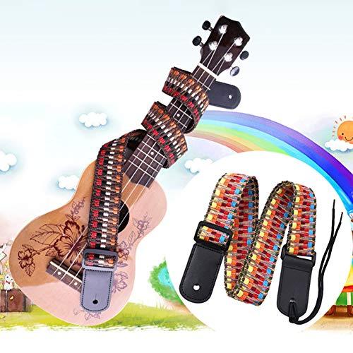 heaven2017 Ethnic Colorful Weaving Adjustable Shoulder Strap for Ukulele Cotton Artificial Leather Small Guitar Belt