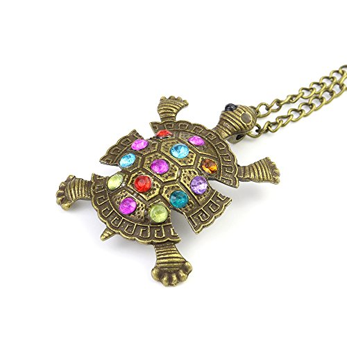 CHOP MALL Women's Vintage Diamond Inlaid Cute Little Turtle Chain Necklace Pendant for Fashion Match