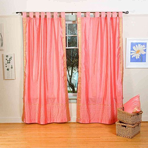 Lined-Pink Tab Top Sheer Sari Curtain / Drape / Panel - 43W x 63L - Piece (Pink Top Curtains Tab)
