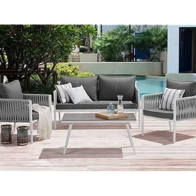 Beliani Modern Outdoor 4 Piece Sofa Set Aluminium Frame
