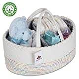 Baby Diaper Caddy Organizer 100% Natural Cotton Rope Storage Basket Portable Nursery Storage Bin with Handles for Changing Table Car Organizer for Diapers and Baby Wipes Baby Shower Gift Basket