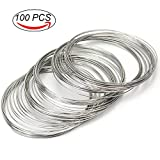 Coolrunner 100pcs Jewelry Wire, Memory Beading Alloy Wire Cuff Bangle Bracelet Jewelry Findings for Wire Wrap Jewelry Making Supplies(23 Gauge)