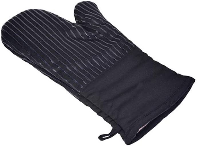 Jeterndy Oven Glove Heat Insulation Non Slip Anti scalding Baking high Temperature Microwave Oven Heat Resistant Striped Oven Mitts (Color : Black, Size : Free Size)