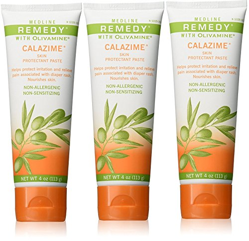 Medline Remedy Olivamine 4 Ounce Calazime Skin Protectant Paste Cream, used with dry chapped skin from diaper rash, incontinence, dermatitis, psoriasis, burns, bites, or rash (Pack of 3) (Best Remedy For Skin Rash)