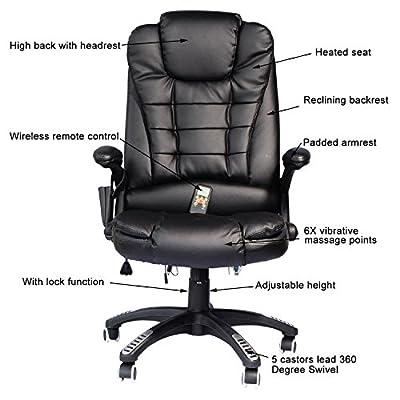 Chair Office Computer Desk Massage Executive Ergonomic Heated Vibrating Home Black