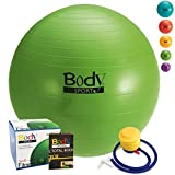 Body Sport Exercise Ball with Pump for Home, Gym, Balance, Stability, Pilates, Core Strength, Stretching, Yoga, Fitness Facilities, Desk Chairs – Green 55cm