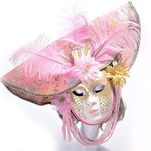 活気づける提供する満足できるダンスマスク プレミアムピンクフェザーズアンドフラワーズフェスティバルコスプレナイトクラブパーティーマスクレディースハロウィンハンドメイドペイントマスク ホリデーパーティー用品 (色 : ピンク, サイズ : 55x35cm)
