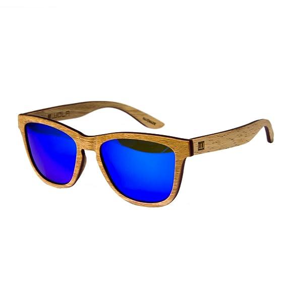 0c66dd6ad70 WOLA wooden squared sunglasses AERO men and women UV400 polarised slim wood  birch  Amazon.co.uk  Clothing