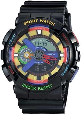 Kid's Dual Dial Analog Digital Waterproof Children Students Watch Chronograph Sport Wrist Watch Black