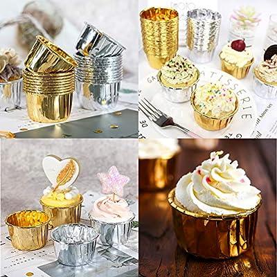 Cumplea/ños para Hornear Magdalenas Moldes Mini Magdalenas Plateado y Oro Rosa Fiesta de Bodas kissral 150 Pcs Papel de Aluminio para Cupcakes Color Dorado