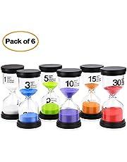 Comsmart Sand Timer, 6 Colors Hourglass Sandglass Sand Clock Timer 1min / 3mins / 5mins / 10mins / 15mins / 30mins for Classroom Game Home Office Decoration (6pcs)