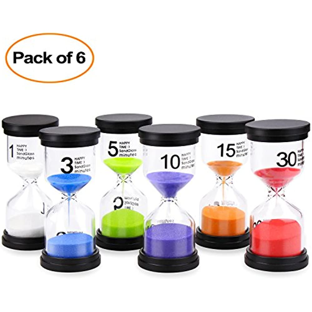 Details about Sand Timers Timer 6 Colors Hourglass 1/3/5/10/15/30 Minutes  Sandglass For Kids