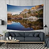Anniutwo Yosemite Art Wall Decor Yosemite Mirror Lake and Mountain Reflection on Water Sunset Evening View Picture Tapestry Wall Tapestry W60 x L51 (inch) Navy Brown