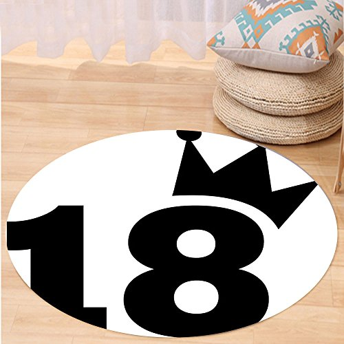 VROSELV Custom carpet18th Birthday Decoration Cartoon Soccer Jersey Seem Bold 18 Number Party Art Print for Bedroom Living Room Dorm Black and White Round 72 inches by VROSELV