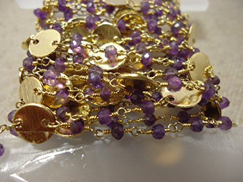 Beads Hub Beautiful Rosary Beaded Chain Faceted Gold Plated Wire Wrapped Chain, 3.5-4 mm Jewelry Making Chain (Amethyst) ()