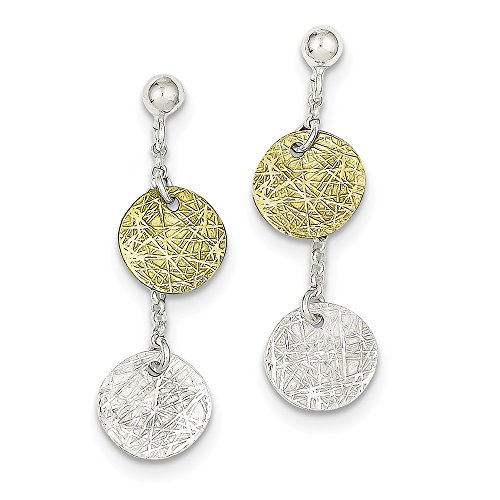 Sterling Silver & Vermeil Polished & Textured Dangle Earrings