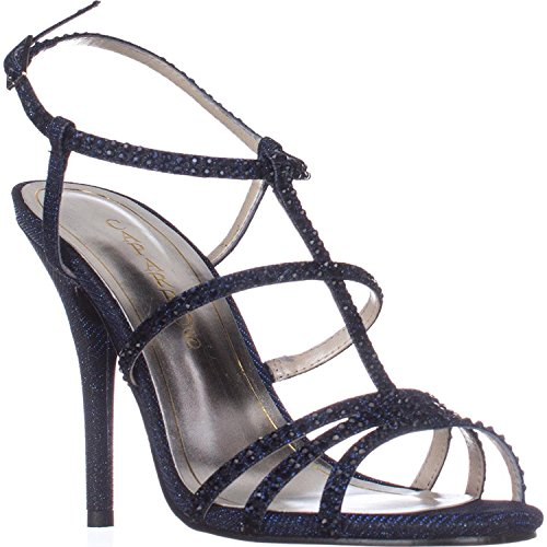 Caparros Womens Groovy Open Toe Casual Strappy Sandals, Navy Glimmer, Size 5.0
