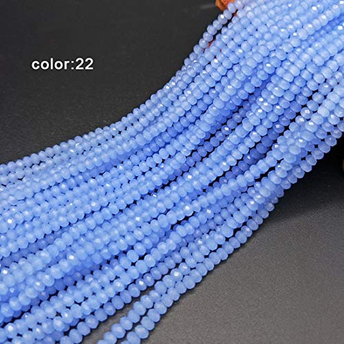 Pukido 2mm Crystal Rondel Wheel Beads 198pcs Multicolor Glass Faceted Beads Crystal Beads for Jewelry Earring Making - (Color: color22) ()