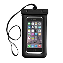 """Floating Waterproof Phone Pouch, IFCASE Universal Water Proof Airbag Dry Bag Case for iPhone 6/6S/7/8 Plus, Galaxy Note 8/S7 Edge/S8/S8+, Google Pixel 2 XL up to 7"""" Diagonal (Black)"""