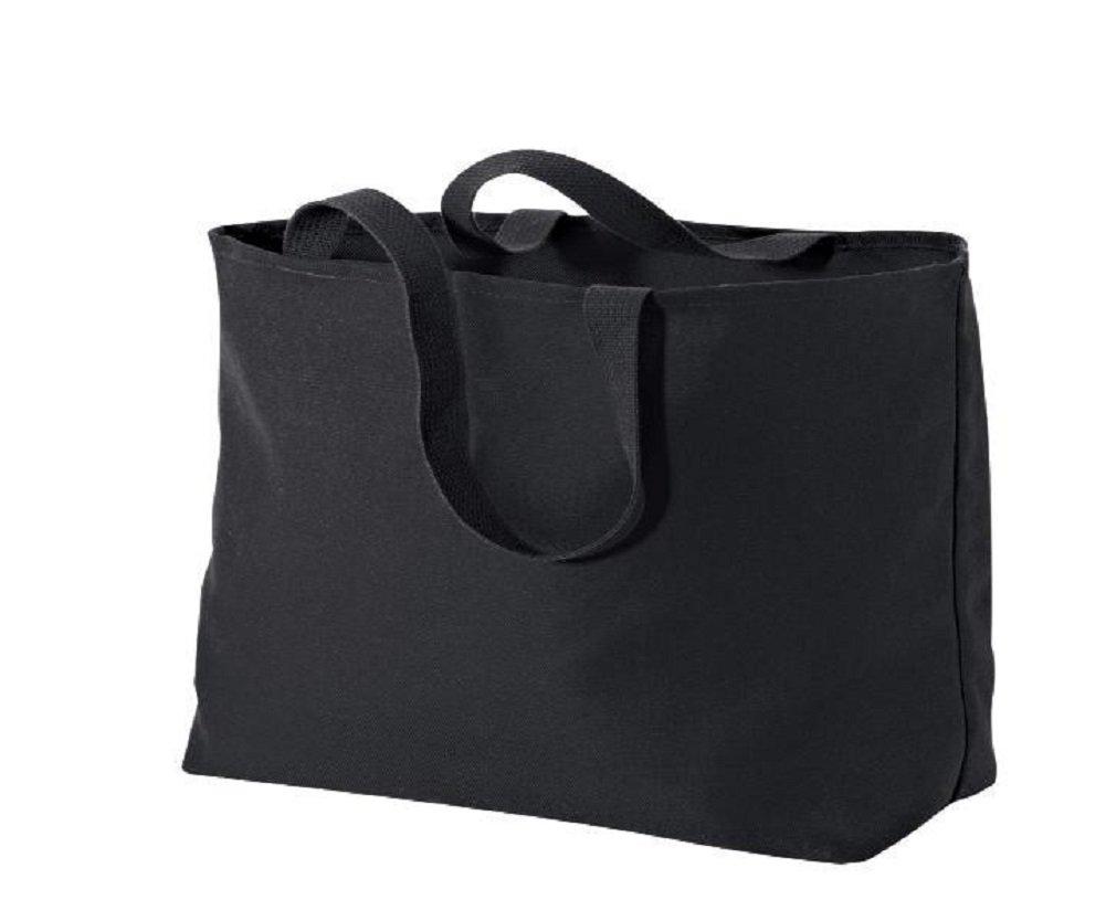 ビーチトートバッグ丈夫なコットンキャンバスGrocery Shopping、旅行、プールバッグ Set of 50 ブラック B0739J6NNG Set of 50|ブラック ブラック Set of 50