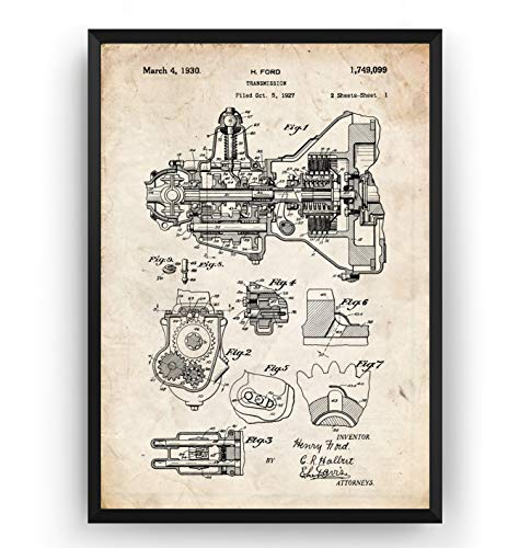 Henry Ford Transmission 1930 Patent Print - Motor Car Invention ...