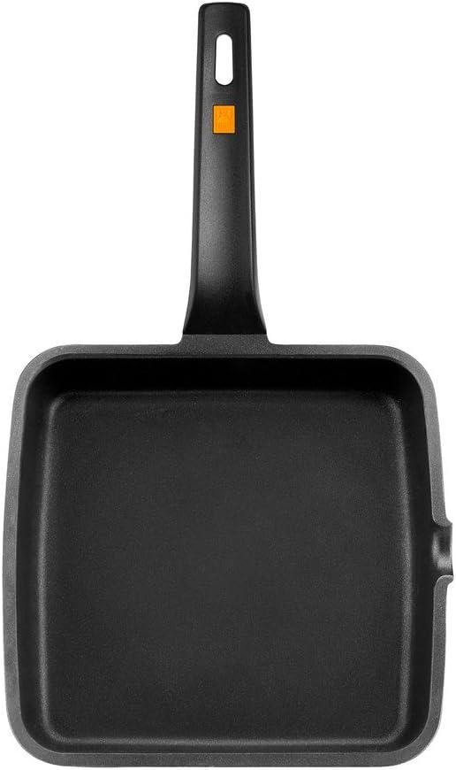 BRA Efficient Grill Liscia in Ghisa dAlluminio Nero 22 cm con Rivestimento Antiaderente Teflon Platinum Plus