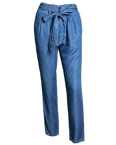 SaiDeng Mujeres Cintura Alta Skinny Pantalones Vaqueros Casual Elasticidad Delgado Azul L