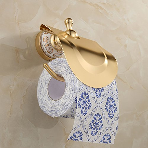 Ibnotuiy European Antique Space Aluminum Wall Mounted Toilet Paper Holder Luxury Ceramic Bathroom Waterproof Tissue Holders Gold by Ibnotuiy (Image #6)