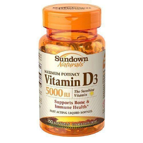 Sundown Naturals Vitamin D3 5000 IU Softgels Maximum Potency 150 Soft Gels (Pack of 10) by Us Nutrition Inc