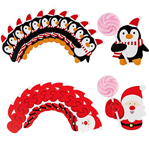 Whaline 100PCS Christmas Lollipop Cards Santa Claus Penguin Sugar-Loaf Candy Holder Gift Box Decor Xmas Birthday Party (Not Included Lollipop) (Santa Candy Holder)