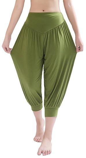 0b8463a736 AvaCostume Modal Cotton Soft Yoga Sports Dance Harem Capri Pants, S,  ArmyGreen
