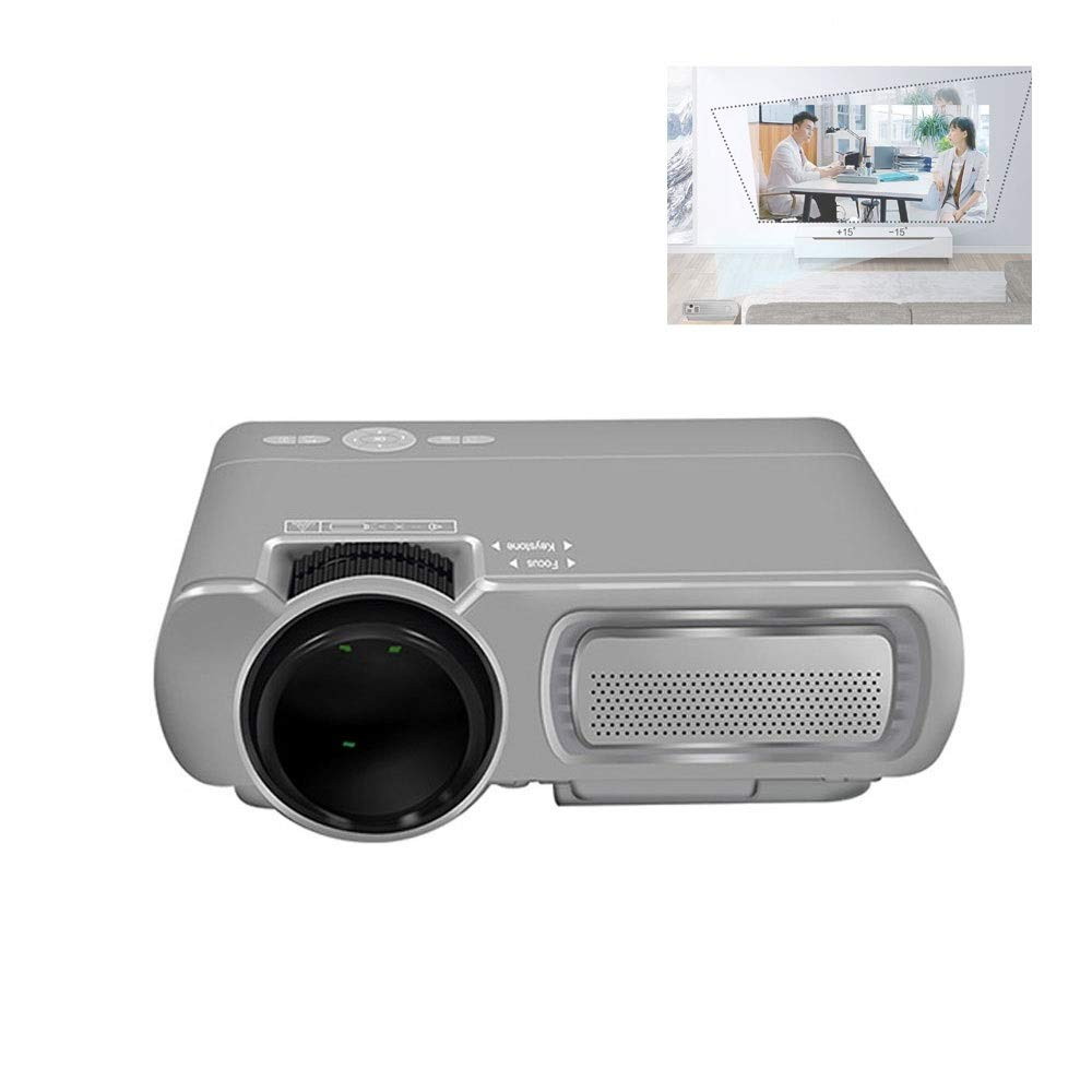 LiChenYao T5 Mini Android WiFi Projector Home Projector Mobile Phone Wireless with The Screen (Color : Gray)