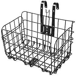 Altruism Quick Release Front Handlebar Bicycle Lift Off Basket Folding Rear Mounted Metal folding bike baskets (black)