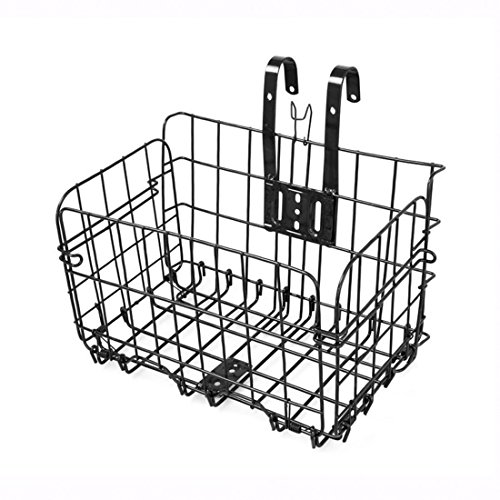 ALTRUISM Bike Baskets For Folding Bikes And Some Mountain Bikes Basket Installation on Front Handlebar & Rear Seat (Black) (Basket For Mountain Bike)
