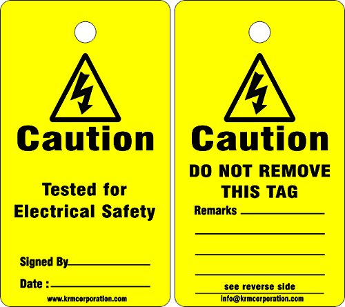 KRM LOTO CAUTION - TESTED FOR ELECTRICAL SAFETY (Set of 50 pcs)