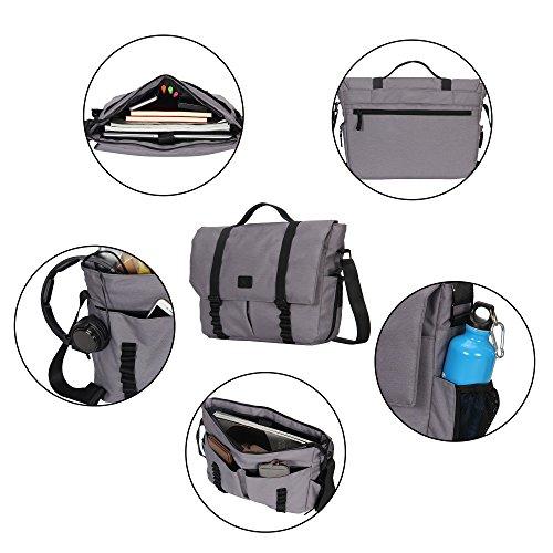 Veevan Bolso de Bandolera para el Hombre bolsa de hombre para Portátiles 14 Pouces Bolso de Mano 13L(Azul oscuro) Gris claro