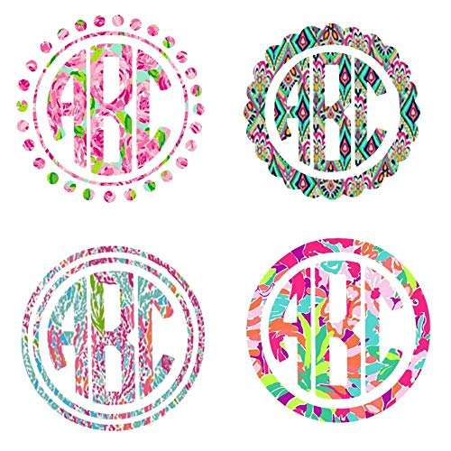 (Lilly Inspired Vinyl | Custom Monogrammed Large Decal | Choose your Monogram Frame, Print & Size | 5.5