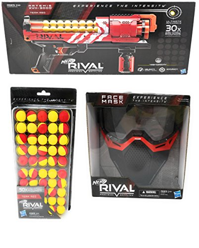Nerf Rival Artemis XVII-3000, Face Mask, 50 Round Refill Pack Bundle (Red)