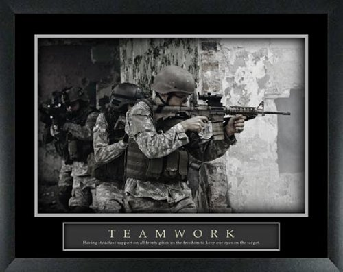 Teamwork Military Armed Forces Team Support Unit Framed Motivational Poster