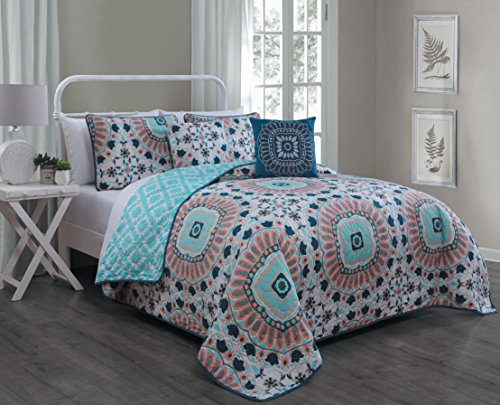 Avondale Manor Malta 5-piece Quilt Set, Queen, Teal (Teal Bedding Colored Sets)