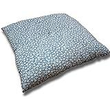 小桜柄が華やかなふっくらふくれ座布団 55cm×59cm 日本製 青