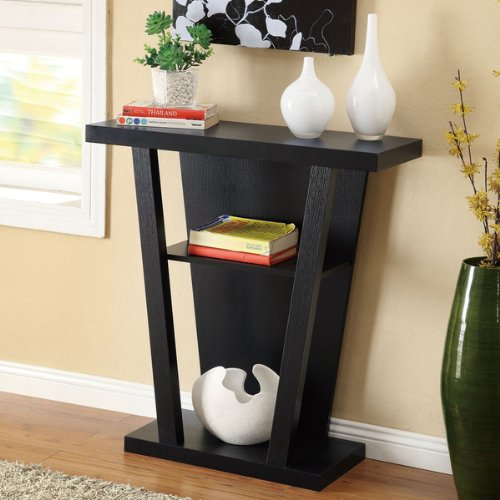 Black Finish Console Sofa Entry Table Ebay